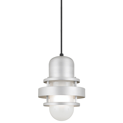 """6"""" shade with frost glass in 101 brushed aluminum, 8 ft. black cord with 91 black canopy"""