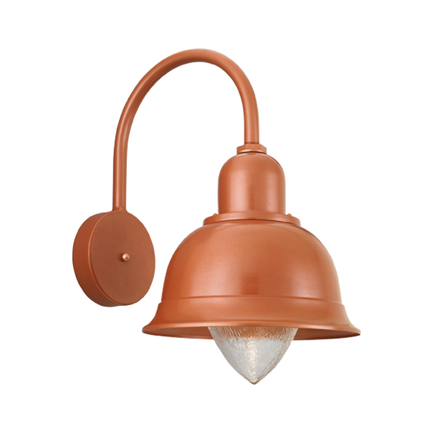 "14"" shade with small acorn glass and B-12 arm in 113 metallic copper (inside & out)"
