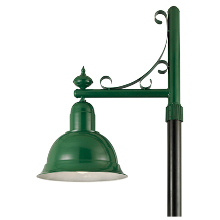 """22"""" shade with P-20 post arm in 29 french green finish"""