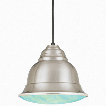 """12"""" shade in 11 satin steel, 8 ft. black cord with 91 black canopy, BGPD accessory blue irri color"""