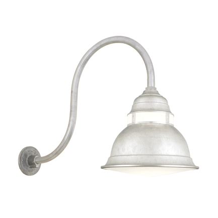"""16"""" shade with cloud lens and HL-D arm in 96 galvanized, BGPC cloud color accessory"""