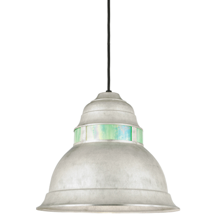 """16"""" shade with blue irri lens in 96 galvanized finish, 8 ft. black cord with 91 black canopy"""