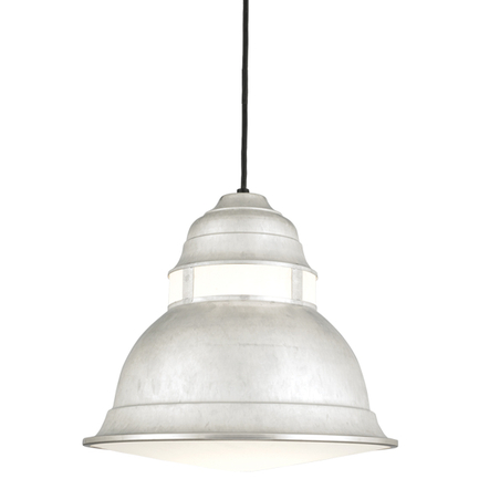 """16"""" shade with cloud lens in 96 galvanized, 8 ft. black cord & 91 black canopy, BGPC cloud color acc"""