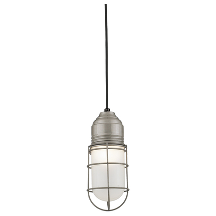 Large fixture in 11 satin steel with frost glass, 8 ft. black cord with 91 black canopy