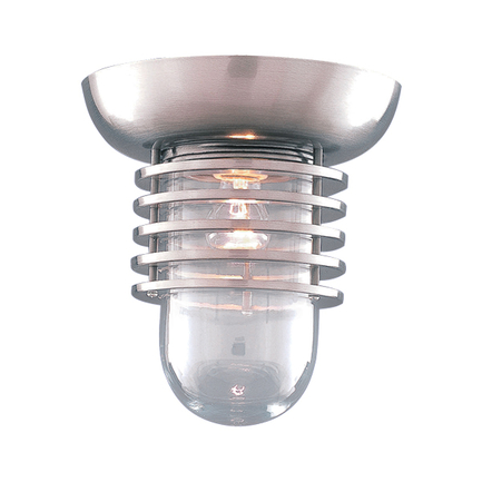 """6"""" fixture in 11 Satin Steel finish with clear glass"""