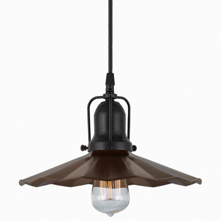 """12"""" shade in 77 rosewood finish, with 91 black cap and cb7 cord mounting"""