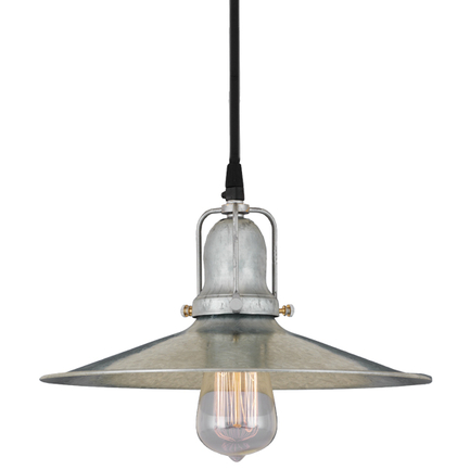 "12""shade in 96 galvanized finish and 96 galvanized finish cap, cb8 cord mounting"