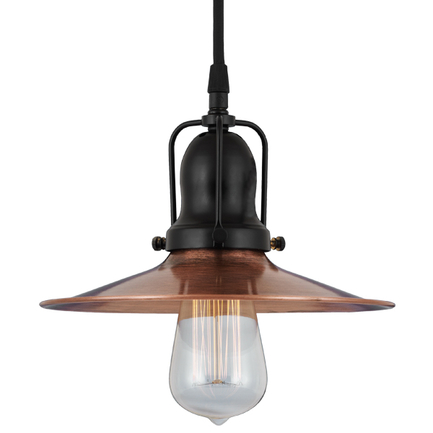 "12""shade in 48 weathered copper finish and 91 black finish cap, cb8 cord mounting"