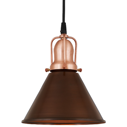 "8"" shade in 77 rosewood finish, with 24 satin copper cap and cb 7 cord mounting"