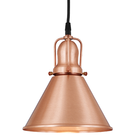 "8"" shade in  24 satin copper finish, with 24 satin copper cap and cb 7 cord mounting"