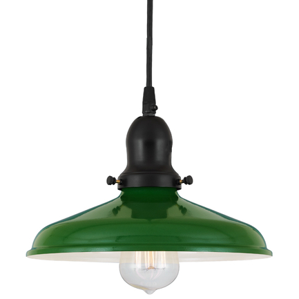 "10"" shade in 140 mallard green finish , with 91 black cap and cb7 cord mounting"