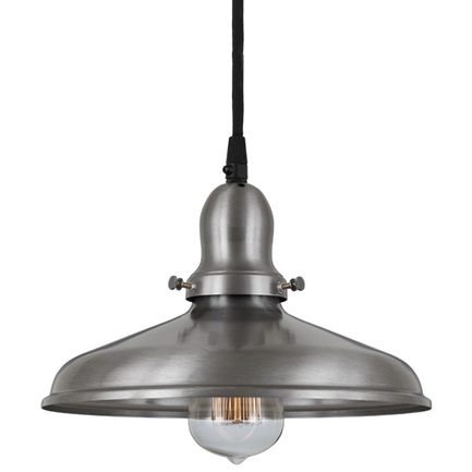 "10"" shade in 11 satin steel finish , with 11 satin steel cap and cb7 cord mounting"