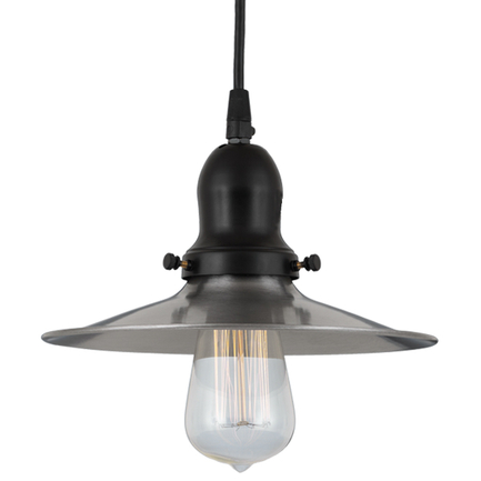10' shade in 11 satin steel finish with 91 black finish cap, cb8 cord mounting