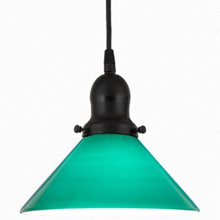 "10"" green glass shade with 91 black finish cap and cb 7 cord mounting"