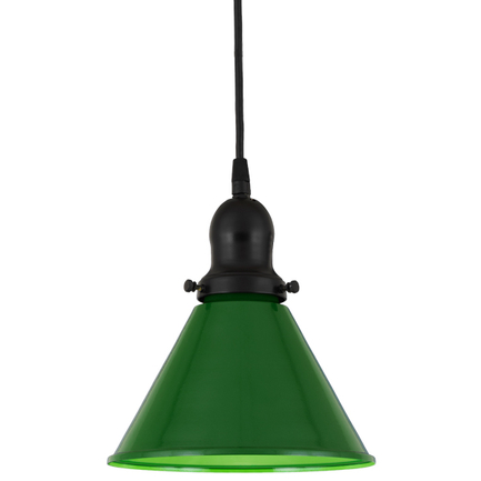 "8"" shade in 140 mallard green finish, with 91 black cap and cb 7 cord mounting"