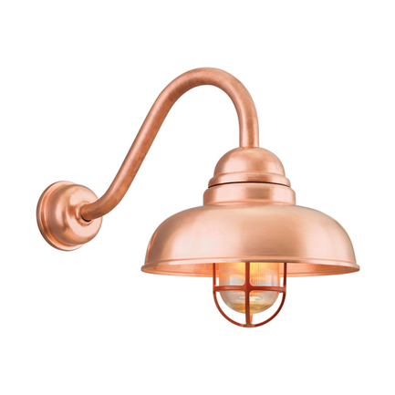 """12"""" shade with B-1 arm and DCC in 48 raw copper, CGU with clear ribbed glass in 113 metallic copper"""
