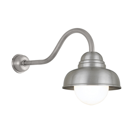 """12"""" shade in 11 satin steel, HL-A arm with DCC in 117 painted steel, 6OP accessory"""