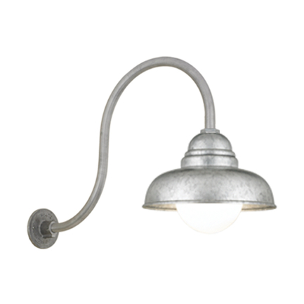 """12"""" shade with HL-D arm in 96 galvanized finish, 6OP accessory"""
