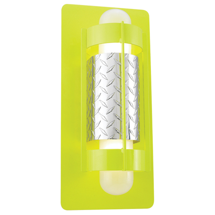 """10"""" width fixture in 92 Yellow finish with frost glasses and DPRG accessory in 98 Polished Aluminum"""