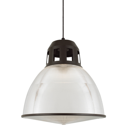 """22"""" shade with ribbed lens in 119 bronze finish, 8 foot black cord with 91 black canopy, CLLS lens"""
