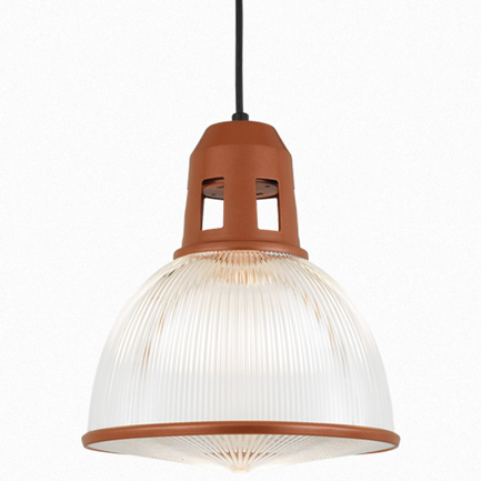"""12"""" shade with ribbed lens in 113 metallic copper, CB8 mounting w/ 113 canopy, CLLS accessory"""