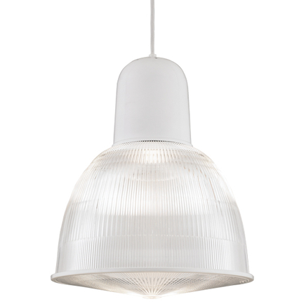 """16"""" shade with ribbed lens in 93 white finish, 8 foot white cord with 93 white canopy, CLLS accessor"""
