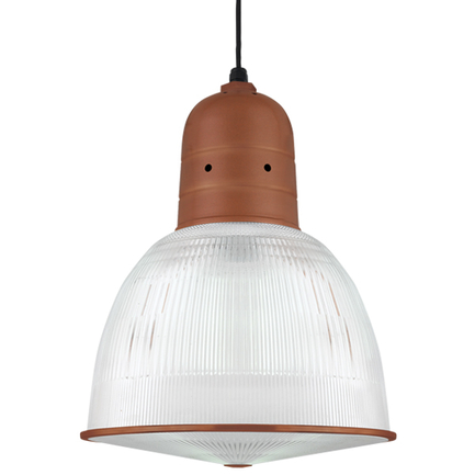"""16"""" shade with ribbed lens in 113 metallic copper, 8 foot black cord with 91 black canopy"""