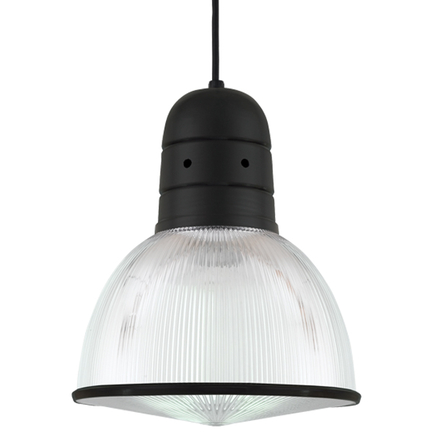 """12"""" shade with ribbed lens in 91 black finish, 8 foot black cord with 91 black canopy, CLLS accessor"""