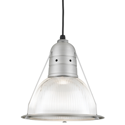 """14"""" shade with ribbed lens in 101 brushed aluminum, 8 foot black cord with 91 black canopy"""