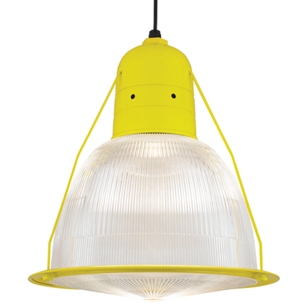 """19"""" shade with ribbed lens in 92 yellow, 8 foot black cord with 91 black canopy, CLLS accessory"""