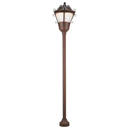 "21"" fixture , 3"" width 9' height pole with bolt down base in BR47 finish, PLY globe, T-5 refractor"