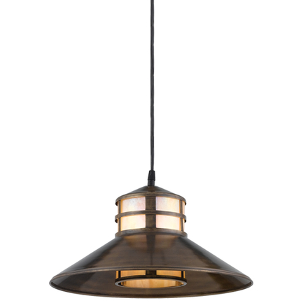 """14"""" shade with honey irri lens in 89 aged brass, 8 foot black cord with 91 black canopy"""
