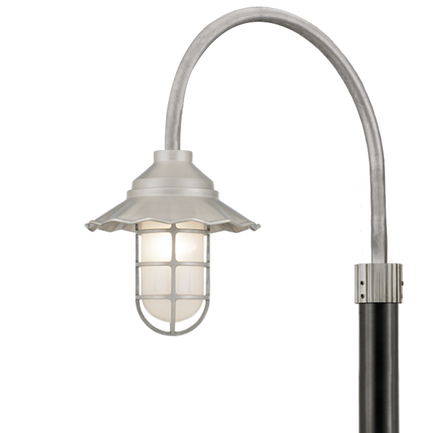 """9.5"""" shade in 101 Brushed Aluminum, P-1 arm in 96 Galvanized and 3"""" pole in 91 Black"""