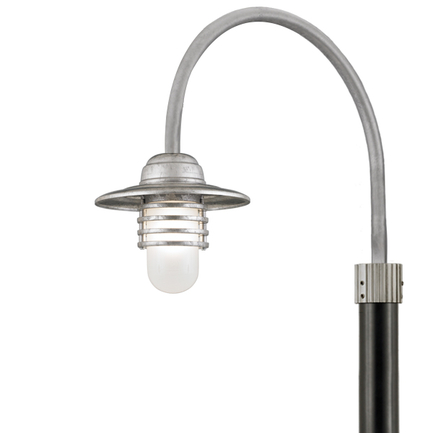 """10"""" shade with P-1 post arm in 96 Galvanized finish and 3"""" smooth pole in 91 Black finish"""