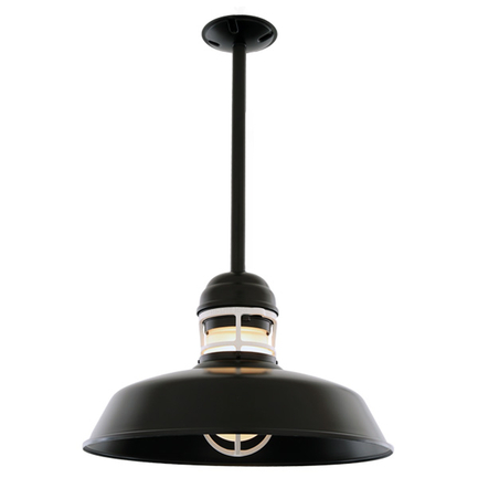 """14"""" RLM shade with ST2 and HSC canopy in 91 black finish with frost glass"""