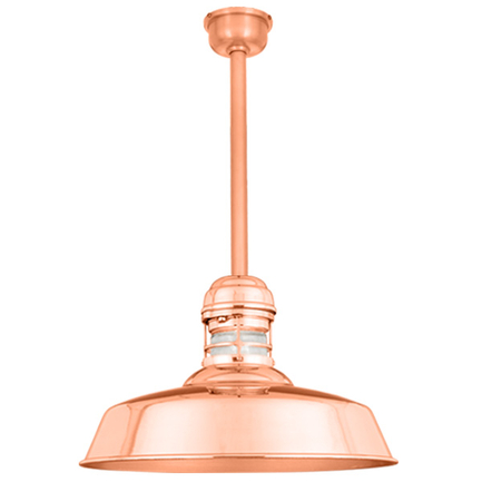 """14"""" RLM shade with ST2 and HSC canopy in 44 polished copper finish with frost glass"""