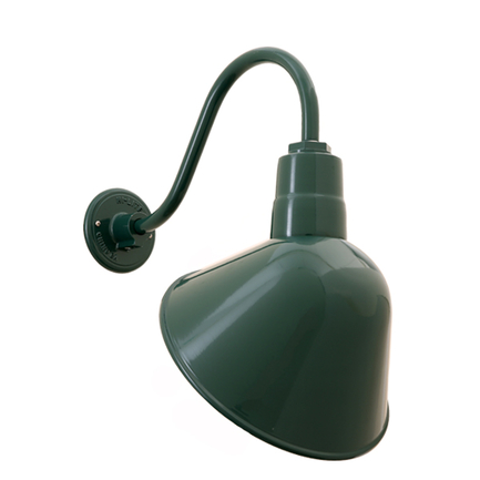 "12"" RLM shade with B-1 gooseneck arm in 95 Dark Green finish"