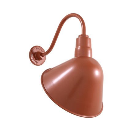 """14"""" shade with B1 gooseneck arm in 113 Painted Copper finish"""