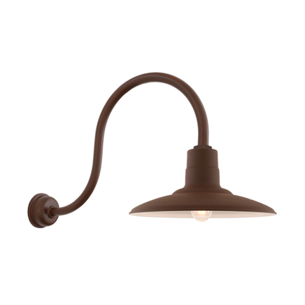 """16"""" shade with HL-D gooseneck arm and DCC accessory in BR47 Powder Coat Rust finish"""