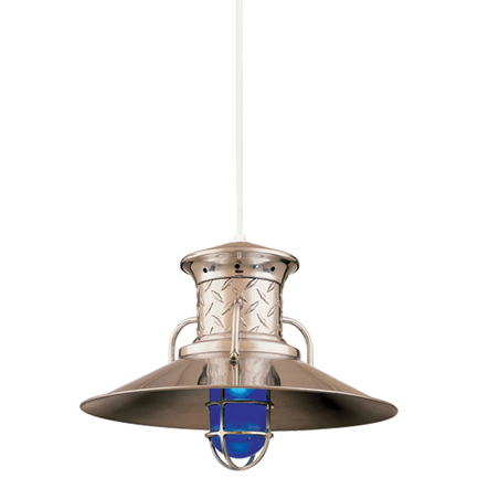 "18"" shade in 98 Polished Aluminum, CW8 mounting, CGU accessory with Blue glass, Diamond Plate Ring"