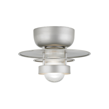 """16"""" shade in 101 Brushed Aluminum finish with clear ribbed glass"""