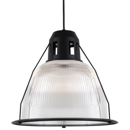 """19"""" shade with ribbed lens in 91 black, 8 foot black cord with 91 black canopy"""