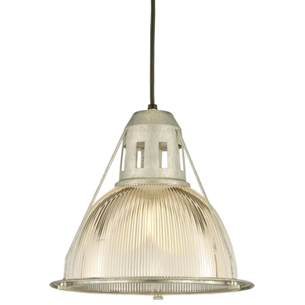 """14"""" shade with ribbed lens in 96 galvanized, 8 foot black cord with 91 black canopy"""