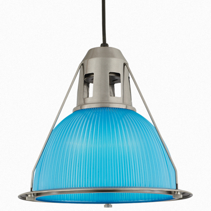 """14"""" shade with light blue lens in 11 satin steel, 8 foot black cord with 91 black canopy"""