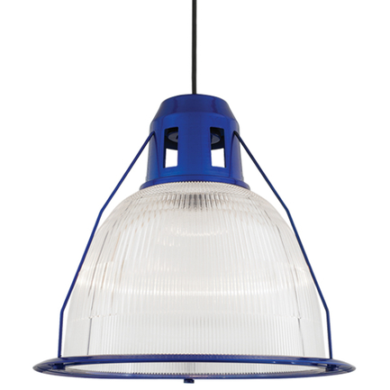 """19"""" shade with ribbed lens in 123 trans blue, 8 foot black cord with 91 black canopy"""