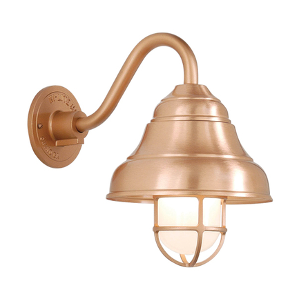 "9"" shade in 24 satin copper, B-7 arm and CGU accessory with frost glass in 113 painted copper"