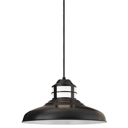 """17"""" shade with opal lens in 91 black finish, 8 foot black cord with 91 black canopy"""