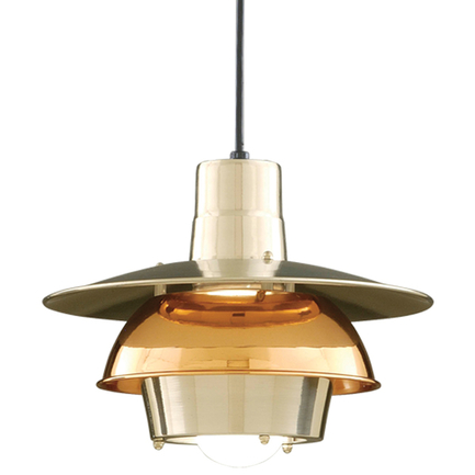 """18"""" shade in 98 polished aluminum, 44 polished copper ring, 8 foot black cord with 91 black canopy"""