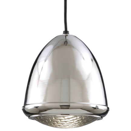 """9.75"""" fixture in 55 chrome, ribbed lens, 8 foot black cord and 91 black canopy"""