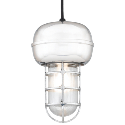 Small fixture in 98 polished aluminum with clear ribbed glass, 8 ft. black cord with 91 black canopy